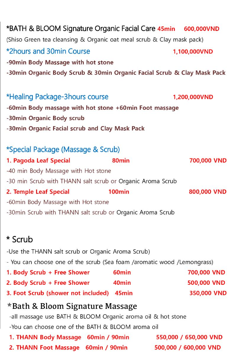 MASSAGE MENU